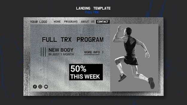 Plantilla de página de destino para entrenamiento trx con atleta masculino