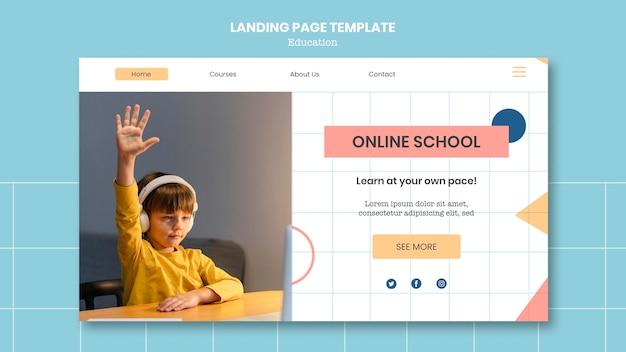 Plantilla de página de destino de la escuela en línea