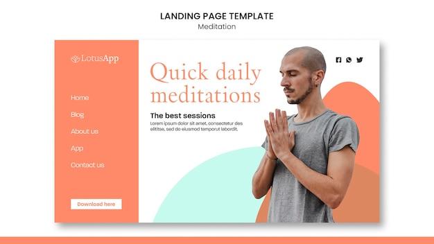Plantilla de página de destino de estilo de vida de meditación