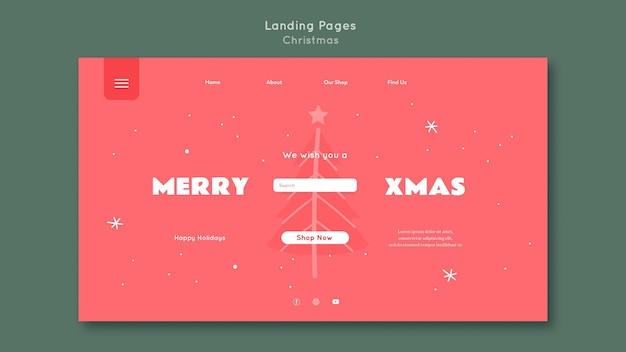Plantilla de página de destino feliz navidad