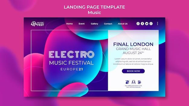 Plantilla de página de destino para festival de música electro con formas de efecto líquido de neón