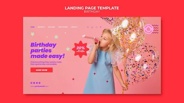 Plantilla de página de destino de fiesta de cumpleaños