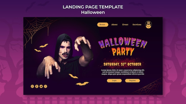 Plantilla de página de destino de fiesta de halloween oscura PSD gratuito