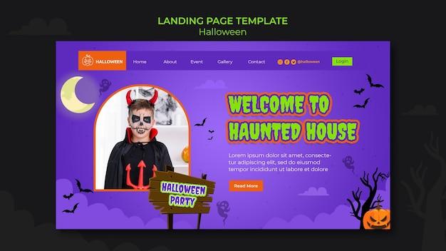 Plantilla de página de destino para halloween con niño disfrazado