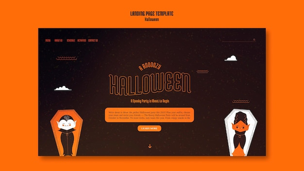Plantilla de página de destino para halloween con vampiro en ataúd