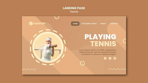 Plantilla de página de destino para jugar al tenis