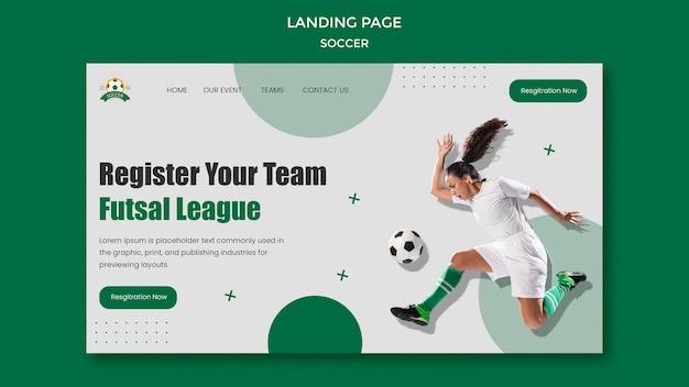 Plantilla de página de destino para liga de fútbol femenino
