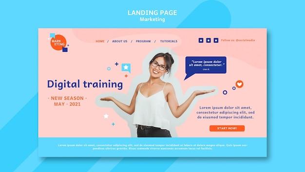 Plantilla de página de destino de marketing con foto