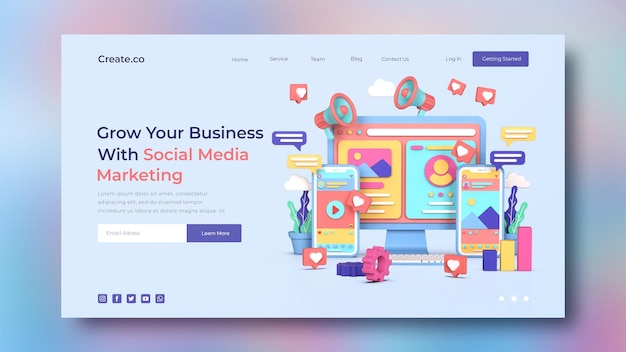 Plantilla de página de destino de marketing en redes sociales