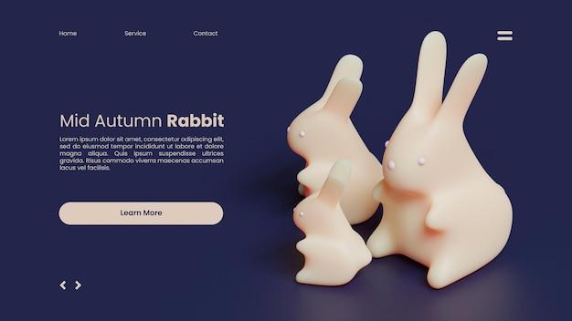 Plantilla de página de destino de mediados de otoño con renderizado 3d de conejos