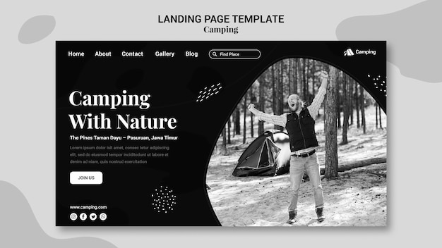 Plantilla de página de destino monocromática para acampar con hombre