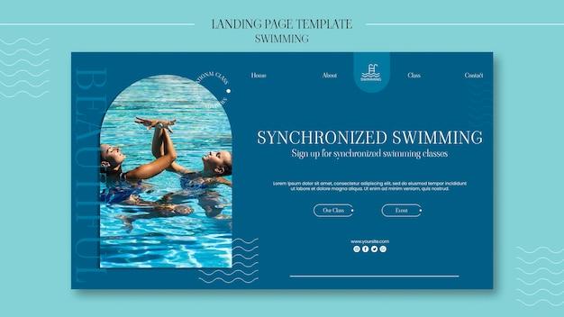 Plantilla de página de destino de natación
