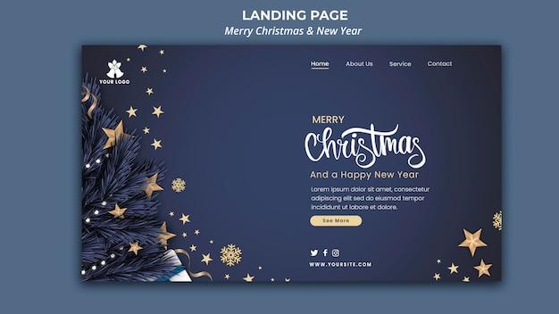 Plantilla de página de destino para navidad y año nuevo.