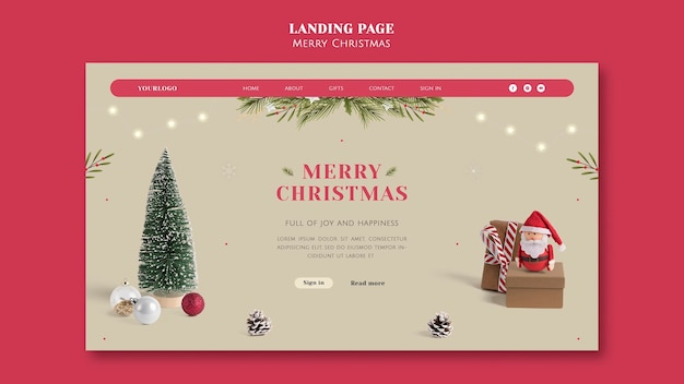 Plantilla de página de destino navideña festiva minimalista