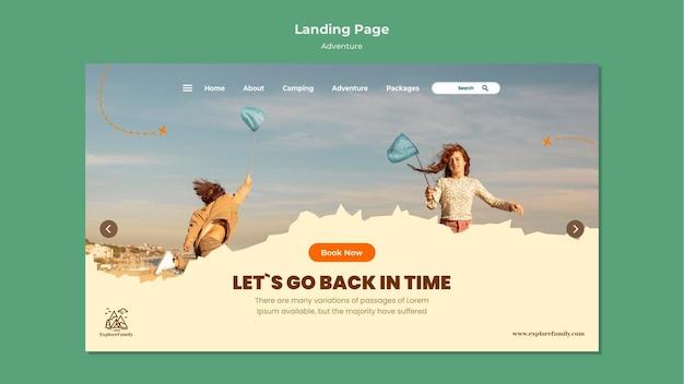 Plantilla de página de destino para niños de aventura al aire libre