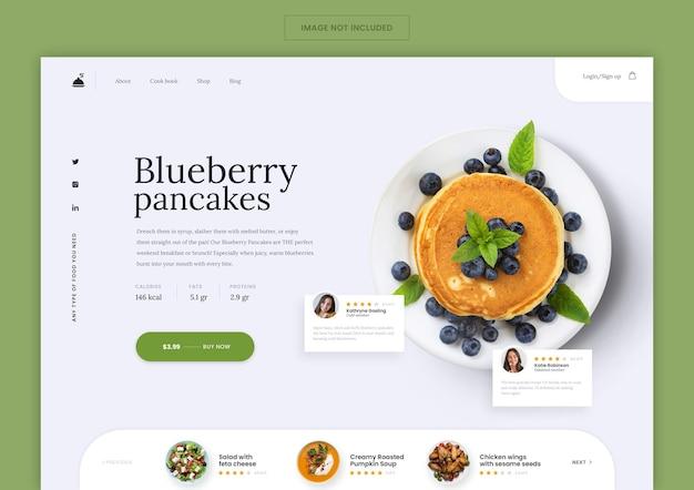 Plantilla de página de destino de panadería de panqueques
