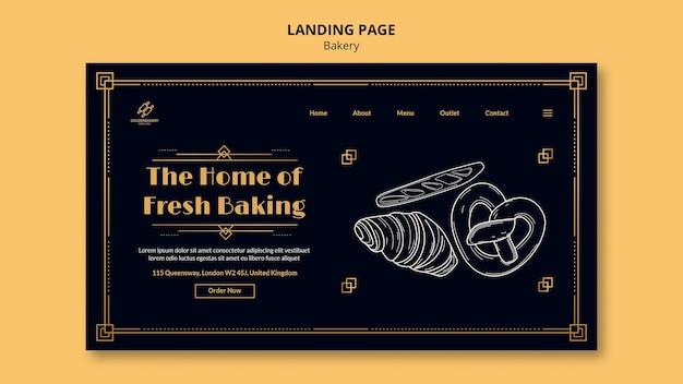 Plantilla de página de destino para panadería con pizarra dibujada a mano