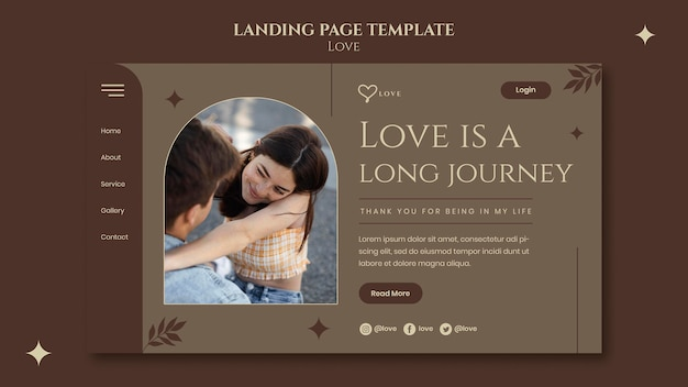 Plantilla de página de destino de pareja encantadora