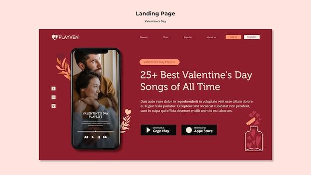 Plantilla de página de destino de pareja feliz día de san valentín