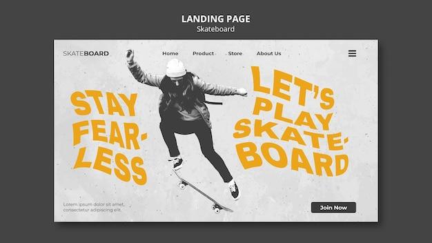 Plantilla de página de destino para patinar con mujer