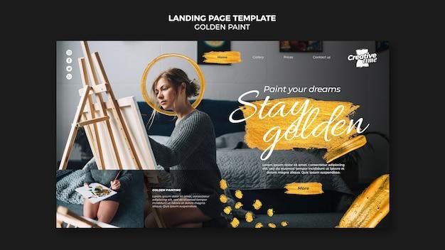 Plantilla de página de destino de pintura dorada