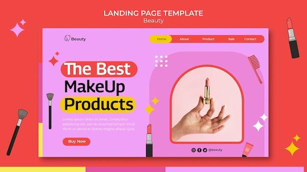 Plantilla de página de destino de productos de belleza
