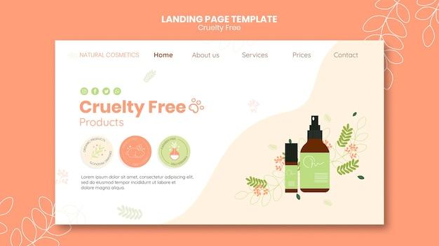 Plantilla de página de destino de productos libres de crueldad