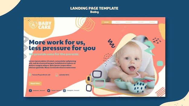 Plantilla de página de destino para profesionales del cuidado del bebé