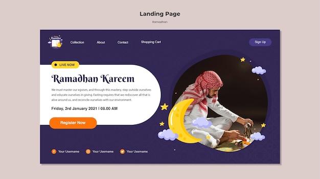 Plantilla de página de destino de ramadán con foto