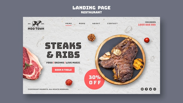 Plantilla de página de destino de restaurante de carnes