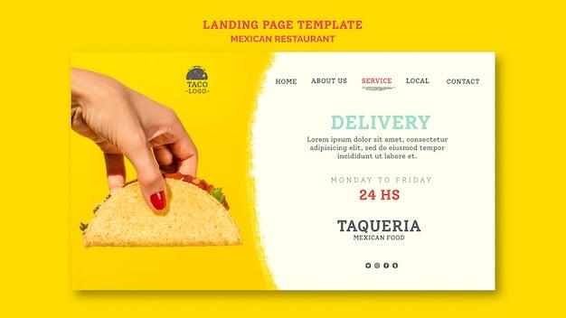 Plantilla de página de destino de restaurante mexicano