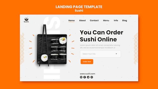 Plantilla de página de destino de restaurante de sushi
