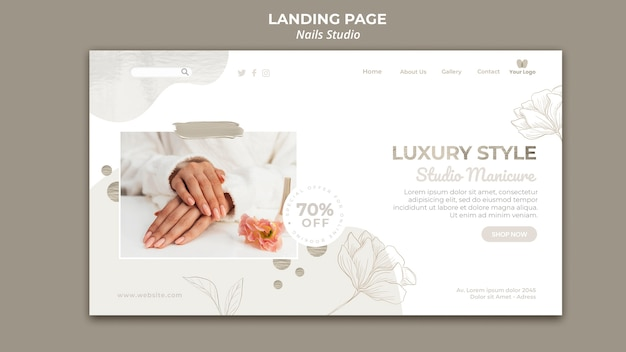Plantilla de página de destino para salón de uñas