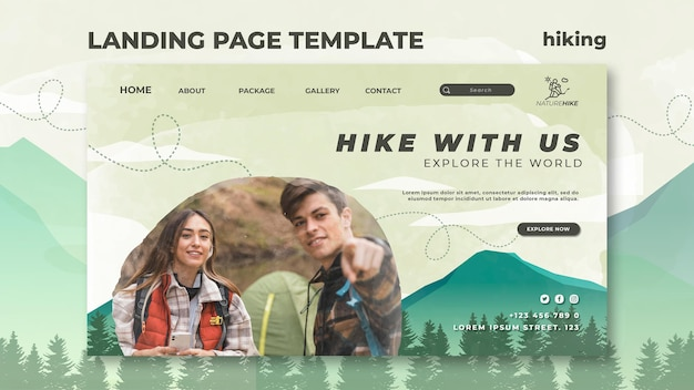Plantilla de página de destino para senderismo por la naturaleza