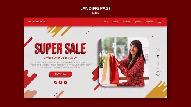 Plantilla de página de destino de super venta