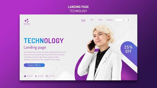 Plantilla de página de destino para tecnología moderna con teléfono inteligente
