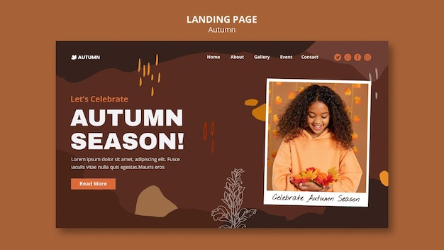 Plantilla de página de destino de temporada de otoño