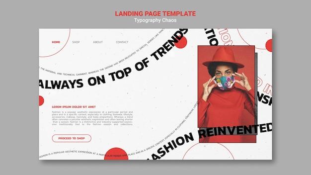 Plantilla de página de destino para tendencias de moda con mujer con mascarilla