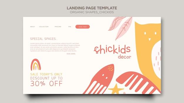 Plantilla de página de destino para tienda de decoración de interiores para niños