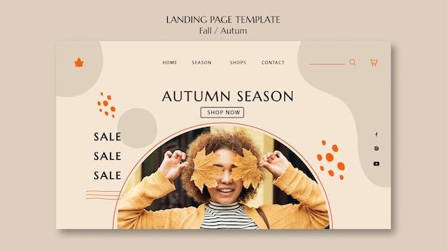 Plantilla de página de destino para venta de otoño
