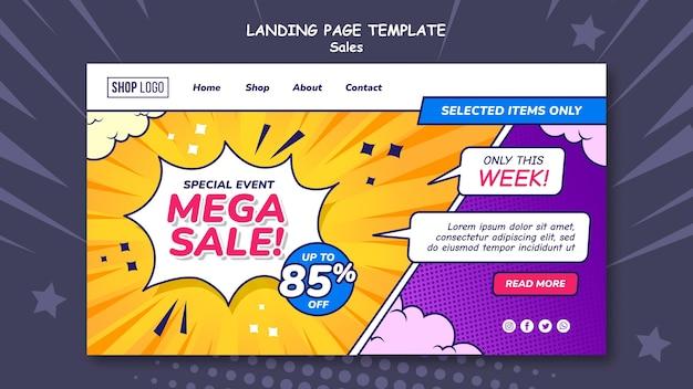 Plantilla de página de destino para ventas en estilo cómic