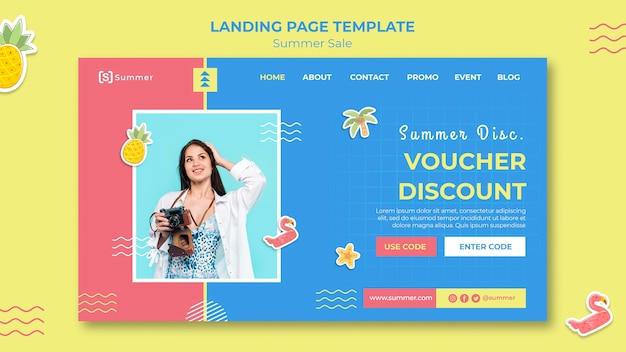 Plantilla de página de destino de ventas de verano