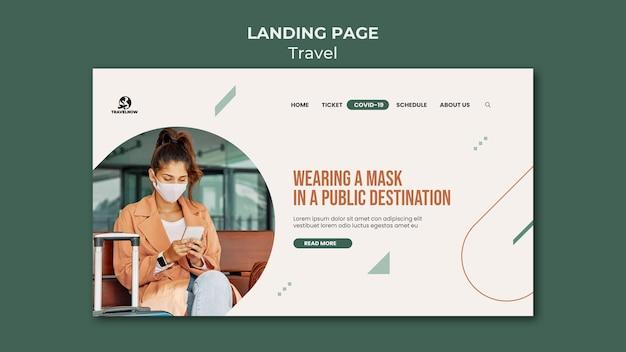 Plantilla de página de destino de viajes covid
