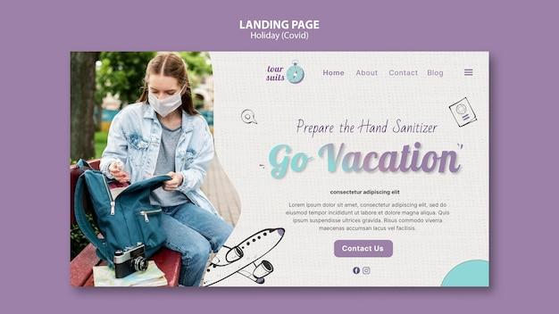 Plantilla de página de destino de viajes y seguridad