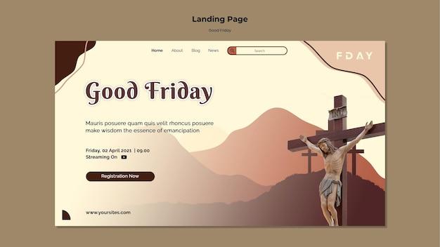 Plantilla de página de destino de viernes santo con foto