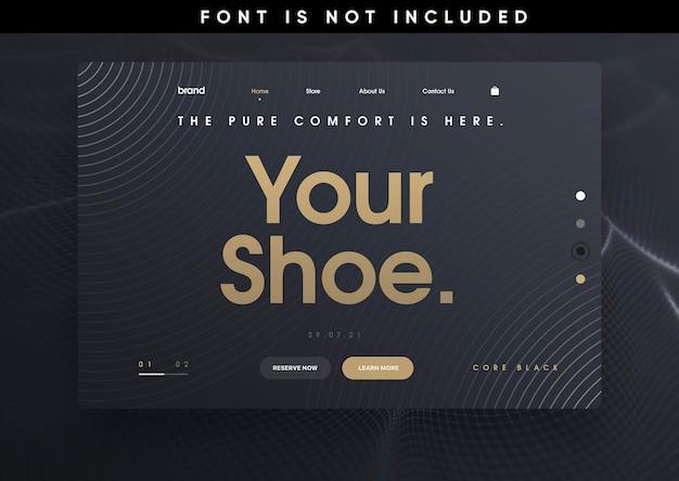Plantilla de página de destino de zapatos de sitio web