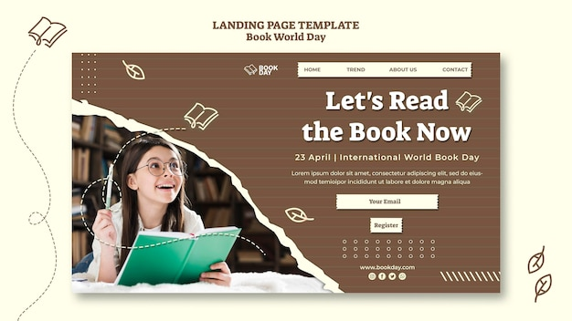 Plantilla de página de inicio del día mundial del libro