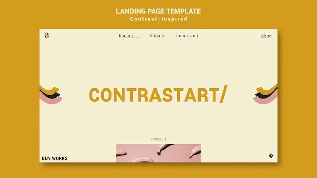 Plantilla de página de inicio de exposición de arte inspirada en el contraste