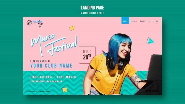 Plantilla de página de inicio de festival de música de estilo anime-comic