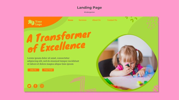 Plantilla de página de inicio de jardín de infantes
